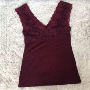 Express burgundy lace top